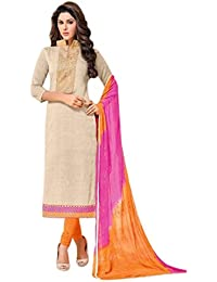 Radhey ArtsNew Designer Cream And Orange Embroidered Cotton Dress Material With Matching Dupatta