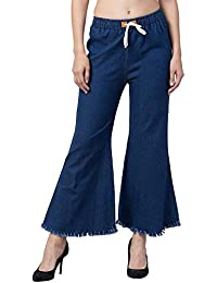 Oyshome Women's Casual Bell Bottom Denim Jeans for Girls & Womens (28 to 34) Free Size