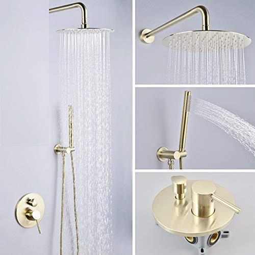 SDMQW Sistema de ducha Juego de grifería de ducha de oro cepillado...