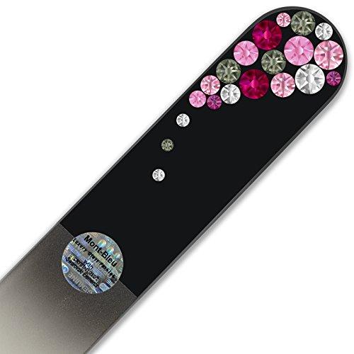 Grande lime à ongle en verre ornées à la main de cristaux de Swarovski Elements, pochette en velours noir | Véritable verre trempé tchèque, garantie à vie, Lime à ongles fait main en cristal