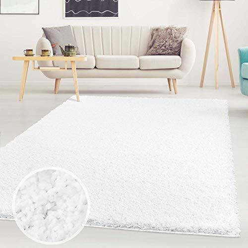 ayshaggy Shaggy Teppich Hochflor Langflor Einfarbig Uni Weiß Weich Flauschig Wohnzimmer, Größe: 133 x 190 cm