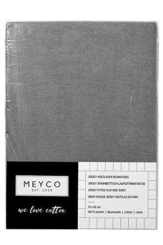 Meyco 566004 Jersey Spannbettlaken für Laufgittermatratze Spieldecke Boxmatratze 100{ad576757a7ab94f97f705ff91319670db28a94e09868023cc4bfb47a53ee6628} Baumwolle 75x95cm Grau
