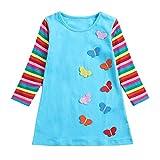 IZHH Baby Kinder Mädchen Kleider, Langarm Kleinkind Regenbogen Streifen Schmetterling Party Kleidung Prinzessin Kleid (3-7Y) Ostern (Himmelblau,6)