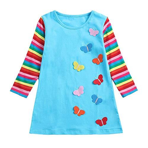 IZHH Baby Kinder Mädchen Kleider, Langarm Kleinkind Regenbogen Streifen Schmetterling Party Kleidung Prinzessin Kleid (3-7Y) Ostern (Himmelblau,5)