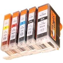 Start-Europe - 1 Satz = 5 kompatible CHIP Patronen - Black (groß + klein), Cyan, Magenta, Yellow - Druckerpatronen fuer Canon Pixma IP 3300 3500 4200 4300 4500 5200 5300 6600 MP 500 510 520 530 600 610 800 810 830 950 960 970 MX 700 850 iX4000 iX5000 Pro9000 - Sofortiges Einsetzen der Tintenpatrone ohne Adapter - kein Chipumbau wie bei den Orginalpatronen - 100% Füllstandsanzeige - Top Tinte - Qualitäts Ersatzpatrone