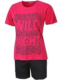 Damen Schlafanzug kurz Damen Pyjama kurz Damen Nachthemd kurz aus 100% Baumwolle softweich Gr. S M L XL