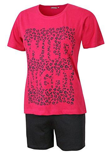 Damen Schlafanzug kurz Damen Pyjama kurz Damen Nachthemd kurz aus 100% Baumwolle softweich Gr. S M L XL (L/44-46, Oberteil Fuchsia/Short Navyblau)