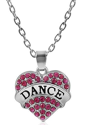 (Klein Silber Ton und Fuchsia/Pink Dance Herzform Kristall Halskette für Mädchen, Teenager, Frauen von Glamour Girl Gifts Collection)