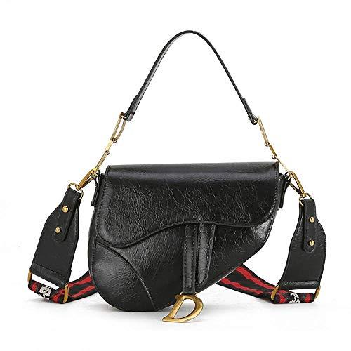Mini-Satteltasche, Retro-breite Schultergürtel PU Leder-Einschultertasche, Karosserietasche 2#