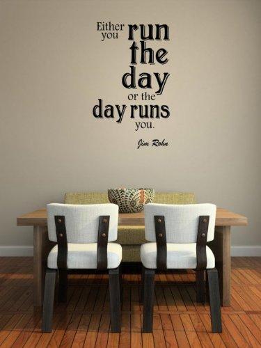 Broomsticker 'entweder Sie den Tag oder Tag läuft Sie. Jim Rohn-großen Wandtattoo, schwarz, Medium: 40cm x 70cm / 16