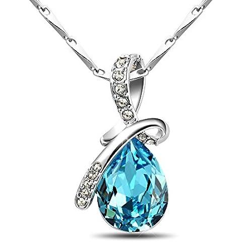 T400Jewelers lágrima plata de ley 925elementos de Swarovski de cristal azul collar con colgante 16