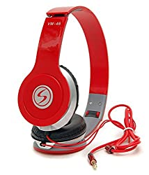 Signature High Quality Vm-46 Stereo Bass Solo Headphones For Iphone,Samsung, Redmi And All Other Smartphones (Red )
