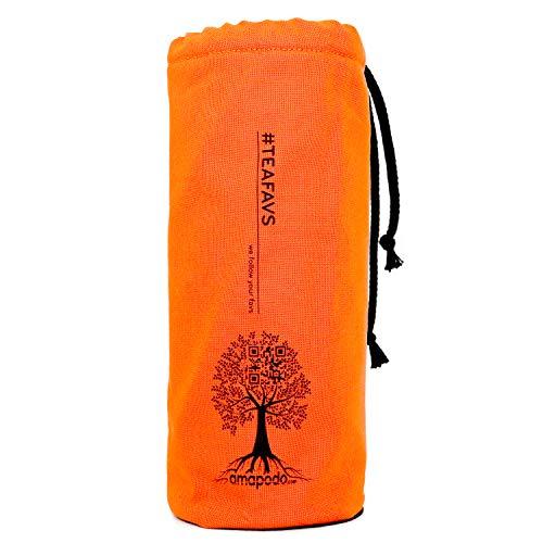 amapodo Cover, Flaschen Hülle, Tasche, Schutzhülle für Trinkflaschen, Thermobecher, Teebereiter, Teeflaschen mit Ø von 6-8cm (Orange)