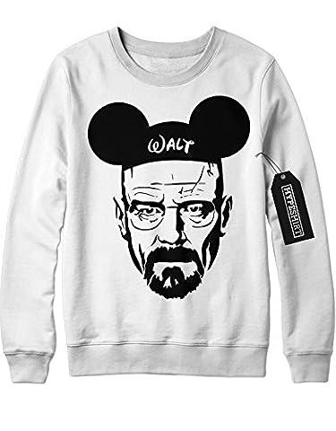 Sweatshirt Walter Mickey Mouse Breaking Bad C112241 Weiß L (Walt Breaking Bad Kostüm)