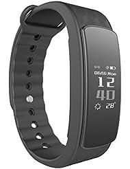 Fitness Tracker d'Activité, Lintelek Etanche Montre Connectée Sport Bracelet Connecté Bluetooth Podomètre Tracker Sommeil Smartwatch pour iPhone Android Smartphone, Noir