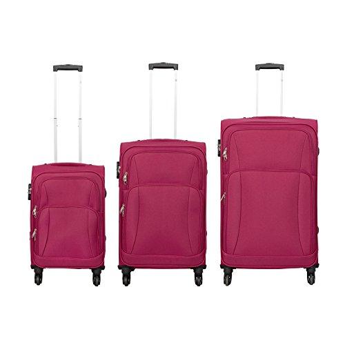 Trendyshop365 - Nylon Koffer-Set 3-teilig - Malaga Reisekoffer Trolley Nylon Weichgepäck - Koffer Weichschale Rot in S-M-L