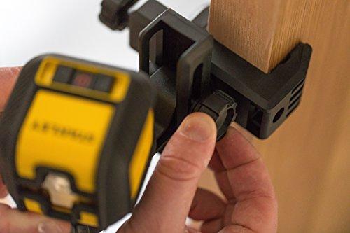 Stanley STHT77498-1 Kreuzlinienlaser Cubix (kompakter Linienlaser, mit roder Diode, selbstnivellierend, Laserklasse 2, inkl. Wandhalterung, 2x Batterien und Transporttasche, 1,5 V) gelb/schwarz