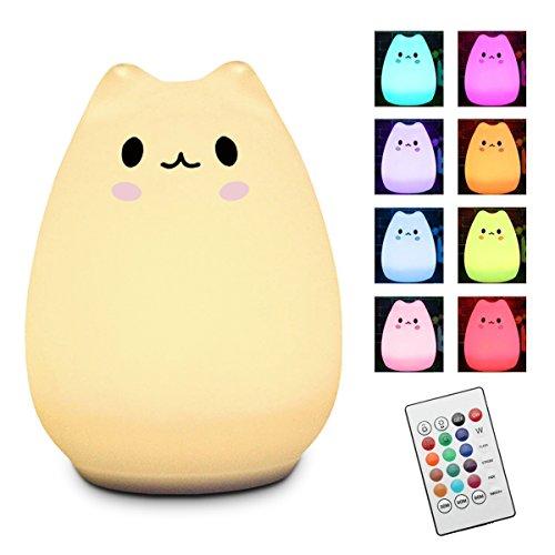 LED Nachtlicht Kinder, Elfeland Nachttischlampe Nachtleuchte LED Schlummerleuchte Katzenform ( 13 Farbmöglichkeiten, 6 Lichtmodi, Dimmbar, Sicheres ABS& Silikon, Praktische USB-Ladeoption ) - Wen