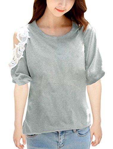 Col rond, manches courtes et épaules ajourées Tunique chemises Clair Gris
