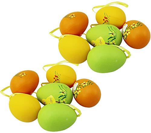 com-four® Set d'oeufs de Pâques, 12 pièces avec Motif Poussin, Jaune, Orange et Vert, 6 cm (12 pièces - Poussins)