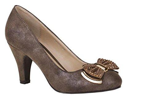Klassische Damen Pumps Stilettos Abend Schuhe Party Hochzeit 5V Tortora 28101