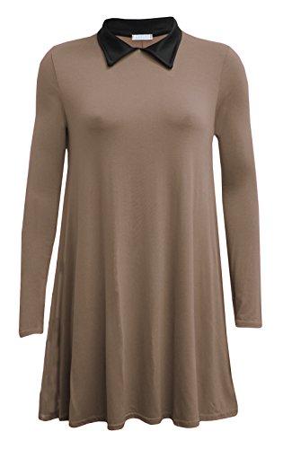 Fashion 4 Less - Robe - Swing - Manches Longues - Femme Marron - Moka