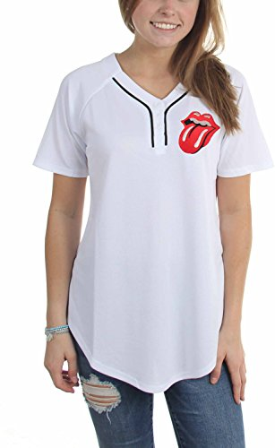 Rolling Stones - Frauen Rolling Stones Junior Baseball Basketball Jersey, XX-Large, white (Basketball-jersey-shirt)