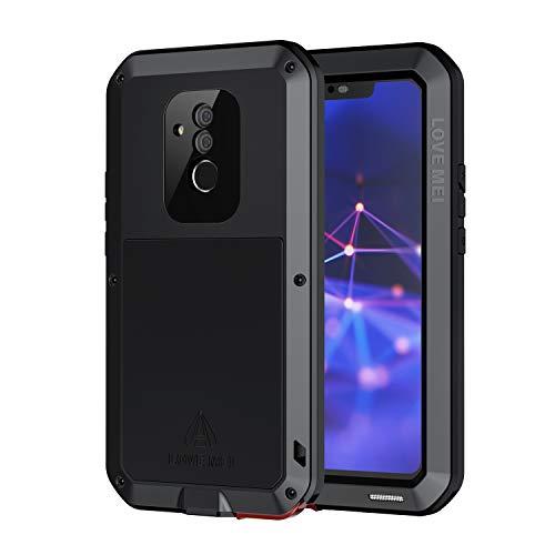 seacosmo Mate 20 Lite Hülle, 360 Grad Stoßfest Aluminium Handyhülle Ganzkörper Schutzhülle mit eingebauter Bildschirmschutz für Huawei Mate 20 Lite, Schwarz