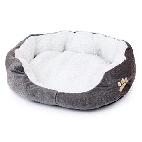 Bomien Rundes oder ovales Haustierbett , für kleine Hunde/Katzen, Fleecestoff (Grau)