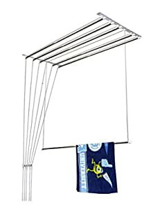 NR Industries Deluxe Heavy Duty Stainless Steel Ceiling Hanger/Ceiling Cloth Drying Stand (6 Pipe X 3 Feet) with UV Protected Nylon Ropes Rust Proof Individual Drop Down (NRI 3 Feet 011)