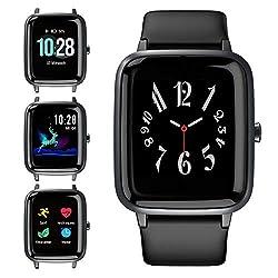Blackview Smartwatch, Fitness Armband Uhr Voller Touch Screen Fitness Tracker mit Pulsmesser, 5ATM Wasserdicht, Aktivitätstracker Sportuhr Schrittzähler Damen für Herren Stoppuhr für iOS Android