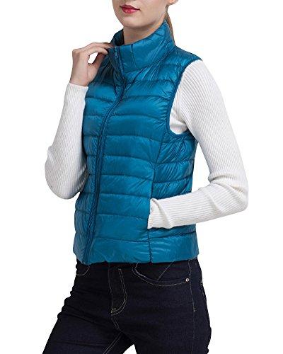 Giacche Piumino Senza Maniche Della Maglia Ultra Leggero Del Cappotto Parka Zipper Invernale Per Donna Pavone Blu