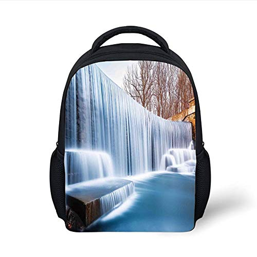 Kids School Backpack Waterfall,Grand Victoria Falls Flowing Over The River Novelty in The Universe Art Photo,Blue Brown Plain Bookbag Travel Daypack -