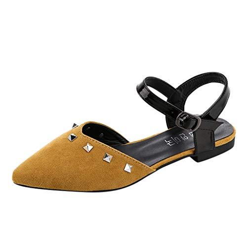 Qmber Damen Böhmen Sandalen Gladiator Leder Schuhe Flach Runder Kopf Böhmische Edelstein Bequem Flach Hausschuhe Quadrat mit einfarbigen Nieten Pointed Toe/Yellow,39