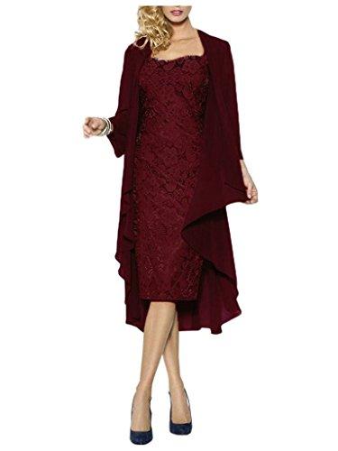 JAEDEN Damen Kurze Spitzenkleider mit Chiffon Jacke Herzform Mutter der Braut  Kleider Abendkleid Burgundy