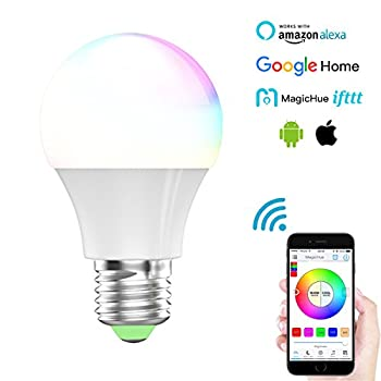 Magic Hue Led Mini Wifi Rgbw Gegenwert 40w Lampe, Dimmbar Energiesparlampen Mit Amazon Echo Alexa, Google Home, Ifttt, Sunrise 16 Mio Farben Leuchtmittel Sonnenaufgang E27 Für Android Und Ios 9