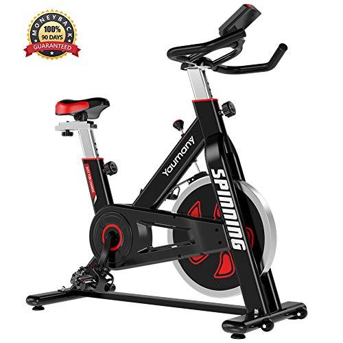 Yaumany Spinning Bike Speedbike Indoorcycling Bike 10KG Schwungrad Fitnesstrainer für Geschwindigkeit, Distanz, Zeit, Kalorien für zu Hause,Komfortsattel,MAX.120KG - 2 Jahre Garantie