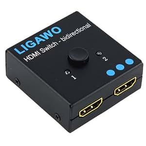 Ligawo ® HDMI Switch 1x2/ 2x1 - Pro 1080p/ 1920x1200 Pixel/ 4K*2K 3D - bidirectional manuelle Umschaltung