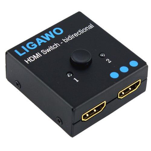 Ligawo ® HDMI Switch bidirektional - 1x2 / 2x1 - 3D 1080p FullHD HDCP - mechanisch + ohne Netzteil passiv + Metallgehäuse + vergoldete Anchlüsse