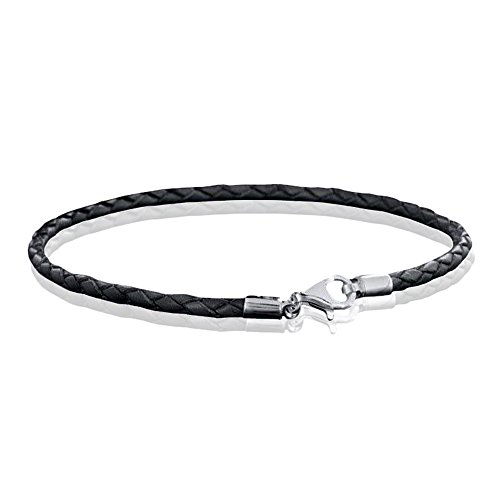 MATERIA 925 Silber Beads Armband Herren Damen - Leder Armband Karabiner grau 18-22cm #A59, Länge:19 cm - Armband Bead Herren