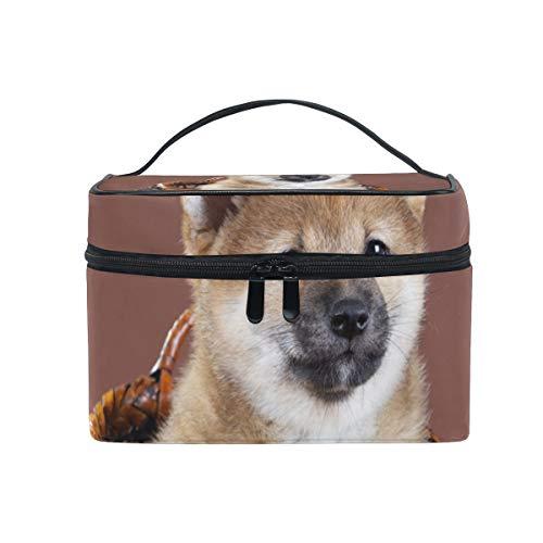 Kosmetiktasche mit Reißverschluss Kosmetiktasche Clutch Basket Dog Single Layer Tragbare Reise Aufbewahrungstasche Tasche Platz für Frauen Dame -
