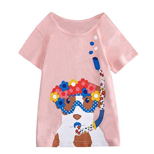 JUTOO Kleinkind Kinder Baby Jungen mädchen Kleidung Kurzarm niedlichen Cartoon Tops t-Shirt Bluse (Rosa,140) (Herr Vampir Lego Kostüm)