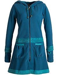 Vishes - Alternative Bekleidung - Langer ECO Fleecemantel mit Handstulpen, Daumenlöchern und extra großer Cape Kapuze