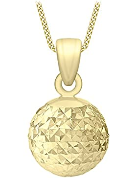 Carissima Gold Damen-Kette mit Anhänger 9ct White 8mm Diamond Cut Ball Pendant Necklace