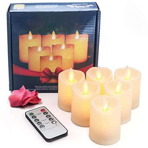OMGAI LED Flammenlose Kerze mit Timer-Fernbedienung, 6 PCS Dimmbare flackernder Docht Wachskerze Batteriebetriebene Elektrische Kerze für die Inneneinrichtung