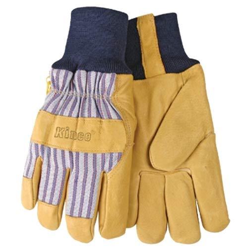 Kinco 1927KW-L Herren Handschuhe aus Schweinsleder, gefüttert, wärmebeständiges Futter, Größe L, goldfarben -