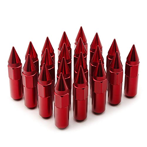 KangFang-Ge, Set di Dadi Dado for Auto da 20 Pezzi Colorati da 90mm con Punta Car Styling for Ruote M12X1.5 (Color : Red)