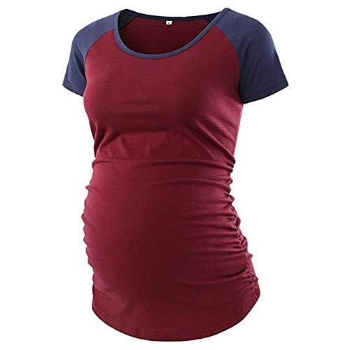 Burgund Kurzarm-shirt (Damen Still-Shirt Schwangere Kurzarm Umstandsmode Bluse T-Shirt Kontrastfarbe (L-Burgund))