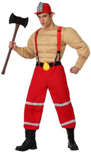 Atosa 8422259158066 - Verkleidung Muskulöser Feuerwehrmann, Erwachsene (Feuerwehrmann Kostüm Herren)