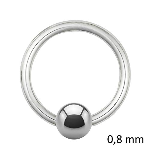 Treuheld Piercing Klemmring - Stahl - Silber - 0.8mm [04.] - 0.8 x 9 mm (Kugel: 3mm) -